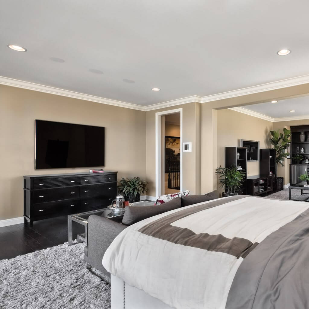 Sales and installation of Sonance Visual Performance Series In-ceiling speakers in bedroom, in the Miami / Fort Lauderdale area. Available at dmg Martinez Group.