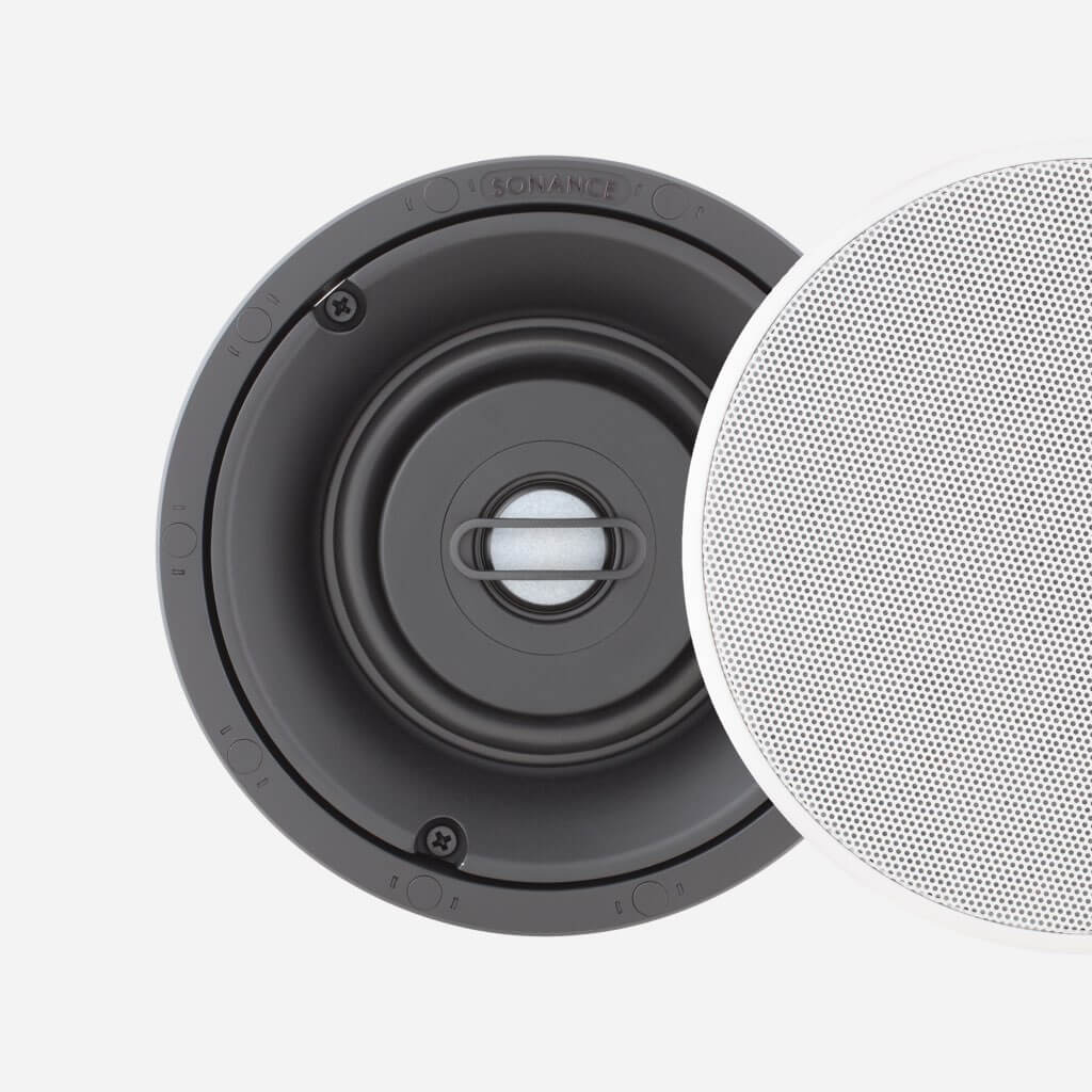 Sonance Visual Performance Small Round Speaker with Perforated Steel Grille, in the Miami / Fort Lauderdale area. Available at dmg Martinez Group.