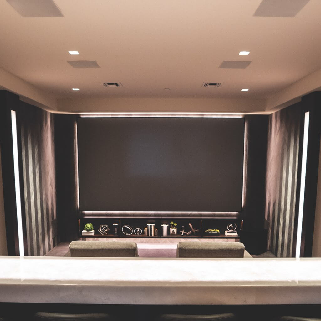 Sonance Reference Series speakers and Subwoofers in a private theater room, available in the Miami / Fort Lauderdale area, at dmg Martinez Group.