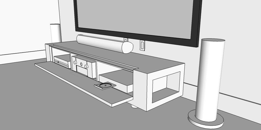 Compact Front Projection Media Room designed & pre-calculated using CAD, in South Beach, FL. By dmg Martinez Group.
