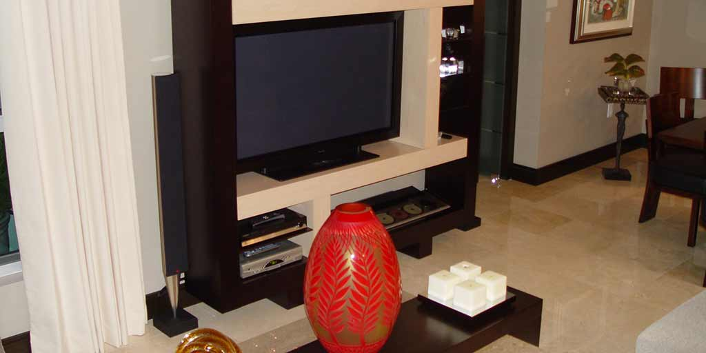 """Installation of Bang & Olufsen BeoVision 4 50"""" on table stand with hidden cables, in Dadeland. By dmg Martinez Group."""