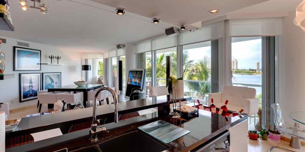 Custom Integrated B&o BeoLab 1 cables hidden through the wall, in Williams Island, Aventura, FL. By dmg Martinez Group.
